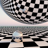 Checkered Surreal Horizon Royalty Free Stock Photography