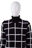 Checkered sweater with high collar. Royalty Free Stock Images