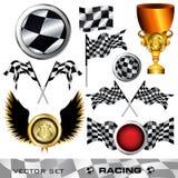 Checkered symbol set. Racing checkered symbol set,  illustration Stock Photos