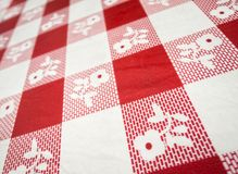 Checkered table cloth. Close-up red and white checkered table cloth Stock Photos
