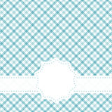 Checkered table cloth pattern with banner. Blue colored checkered table cloth pattern with free banner for text Stock Images