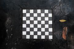 Checkered table pattern for game on street. black and white geometric design. Concept. Of outdoor public entertainment Royalty Free Stock Photography