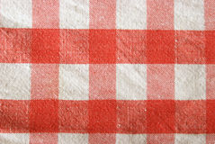 Checkered Tablecloth. A macro shot of a red checkered tablecloth Royalty Free Stock Photo