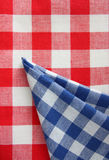 Checkered tablecloth Stock Photos