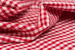 Checkered Tablecloth Kitchen Selective Focus. Royalty Free Stock Photo