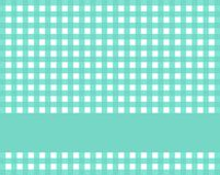 Checkered tablecloth with stripe green blue and white. Checkered tablecloth green blue and white with stripe for text Stock Photography