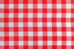 Checkered tablecloth for the table in red and white cells. Royalty Free Stock Photography