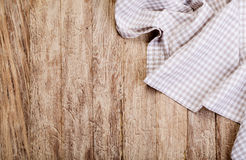 Checkered tablecloth on  table Royalty Free Stock Images