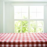 Checkered tablecloth texture top view on blur window view garden. Background.For montage product display or design key visual layout Stock Photo