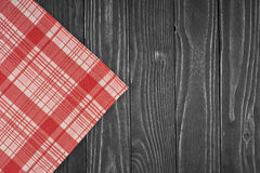 The checkered tablecloth on wooden table Stock Photos