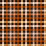 Checkered tartan fabric seamless pattern in brown and orange, vector Stock Image