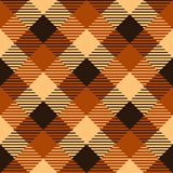 Checkered tartan fabric seamless pattern in brown and orange, vector Royalty Free Stock Photo