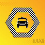 Checkered taxi background with cab silhouette in center Royalty Free Stock Image