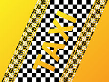 Checkered taxi background with tire treads. Checkered taxi background design with tire treads Stock Photos
