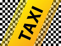 Checkered taxi background with tire treads and shadows Stock Photo