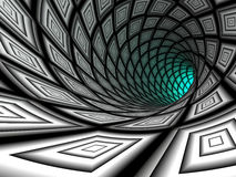 Checkered tunnel, 3D. Checkered tunnel, abstract background. 3D rendering image stock illustration