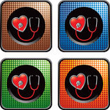 Checkered web icons with stethoscope on heart Stock Image