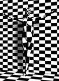 Checkered woman  on the checkered wall Stock Image