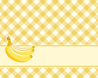 Checkered yellow background with bananas. Vector. tablecloths Stock Image