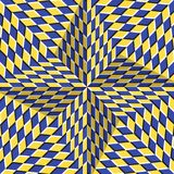 Checkered yellow blue four pointed star. Optical motion illusion abstract background.  Royalty Free Stock Photos