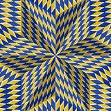 Checkered yellow blue six pointed star. Optical motion illusion abstract background.  Stock Image