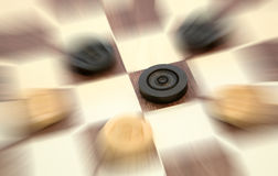 Checkers. Game of checkers with creative blur Stock Photo