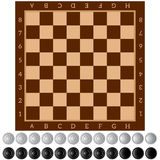 Checkers. Ancient Intellectual board game. Chess board. White and black chips. Isolated objects. Royalty Free Stock Images