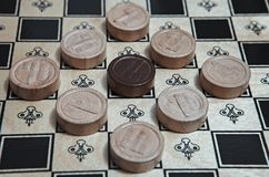 Checkers black surrounded by white stock photography