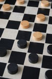 Checkers Board. Game after first moves Royalty Free Stock Photo