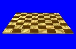 Checkers board. Wooden chess or checkers board in 3D Stock Photography