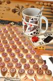 Checkers, board games, bingo, backgammon, dominoes Stock Photos