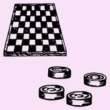 Checkers and Checkers board Stock Photography