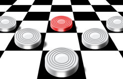 Checkers on a chess-board Royalty Free Stock Photos