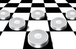 Checkers on a chess-board Stock Images