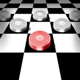 Checkers on a chess-board Royalty Free Stock Photo