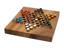checkers deskowego chińczyków pojedynczy biały drewna Fotografia Stock