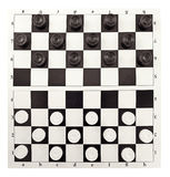 Checkers game. Set of checkers game, top view, isolated on white royalty free stock photo