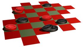 Checkers game. Illustration of a checkerboard with black and red checkers stock illustration