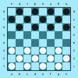 Checkers game, blue board Royalty Free Stock Photography