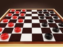 Checkers game board and pieces. 3D illustration Royalty Free Stock Images