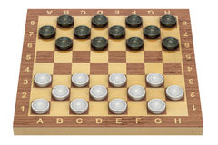 Checkers game board and pieces, 3D Royalty Free Stock Image