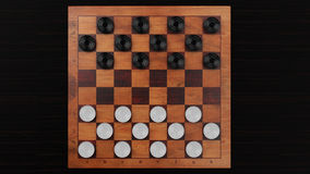Checkers Game Wooden Board stock illustration