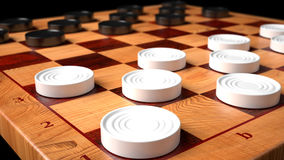 Checkers Game Wooden Board royalty free stock images