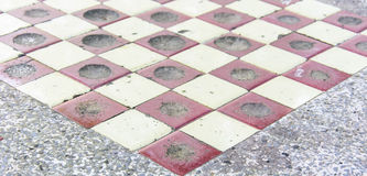 Checkers on a marbel  table Stock Photo