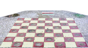 Checkers on a marble  table isolated on white background Stock Photos