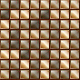 Checkers metal background of polished metal plates of different shades. Production, plant or factory. Copper and bronze Stock Photos