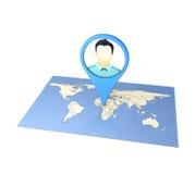 Checkin на карте Стоковое Изображение RF