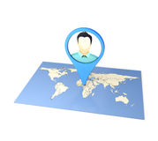 Checkin on Map. Checkin on The World Map social media by Smart Phone Royalty Free Stock Image
