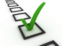Checking. Green tick on checklist. Computer render Stock Photography