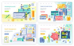 Checking Account, Credit and Debit Card Web Set. Checking account, credit and debit card web pages set vector. Wallet filled with money banknotes and coins vector illustration